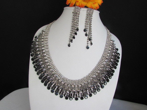Silver Statement Jewelry Black Pewter Rhinestones Very Elegant Necklace + Earrings Set New Women - alwaystyle4you - 8