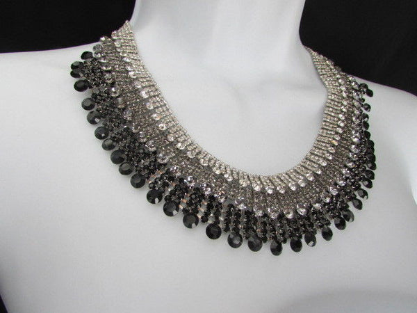 Silver Statement Jewelry Black Pewter Rhinestones Very Elegant Necklace + Earrings Set New Women - alwaystyle4you - 9