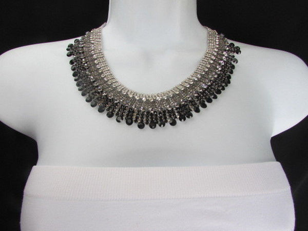 Silver Statement Jewelry Black Pewter Rhinestones Very Elegant Necklace + Earrings Set New Women - alwaystyle4you - 10