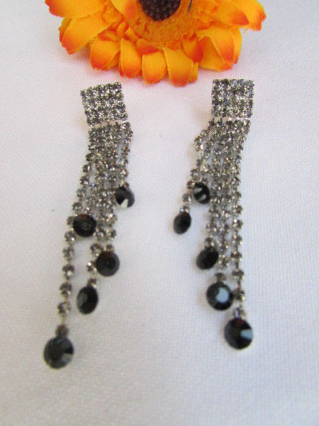 Silver Statement Jewelry Black Pewter Rhinestones Very Elegant Necklace + Earrings Set New Women - alwaystyle4you - 11