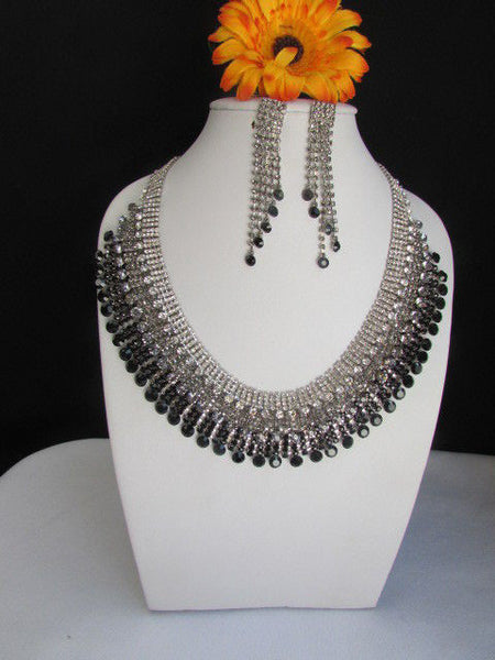 Silver Statement Jewelry Black Pewter Rhinestones Very Elegant Necklace + Earrings Set New Women - alwaystyle4you - 12