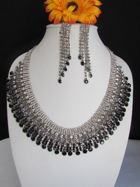 Silver Statement Jewelry Black Pewter Rhinestones Very Elegant Necklace + Earrings Set New Women - alwaystyle4you - 1