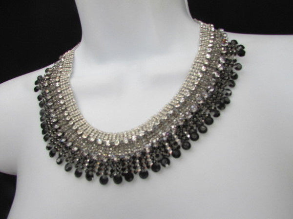 Silver Statement Jewelry Black Pewter Rhinestones Very Elegant Necklace + Earrings Set New Women - alwaystyle4you - 2