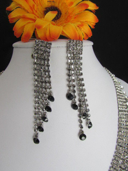 Silver Statement Jewelry Black Pewter Rhinestones Very Elegant Necklace + Earrings Set New Women - alwaystyle4you - 3