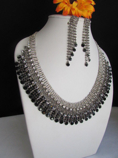 Silver Statement Jewelry Black Pewter Rhinestones Very Elegant Necklace + Earrings Set New Women - alwaystyle4you - 4