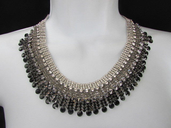 Silver Statement Jewelry Black Pewter Rhinestones Very Elegant Necklace + Earrings Set New Women - alwaystyle4you - 5