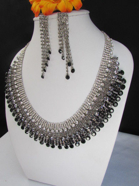 Silver Statement Jewelry Black Pewter Rhinestones Very Elegant Necklace + Earrings Set New Women - alwaystyle4you - 6