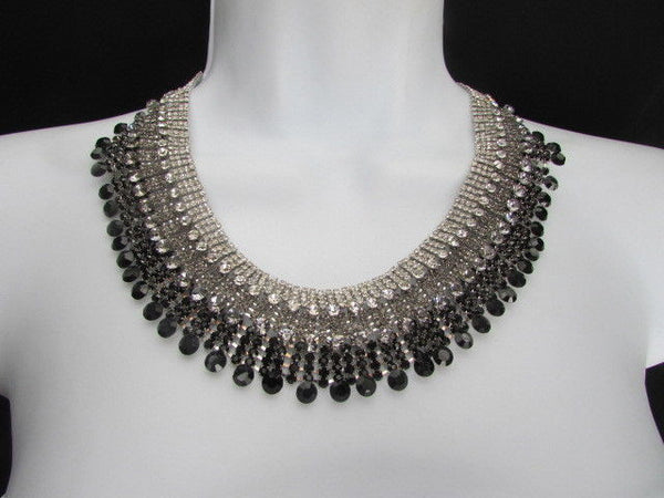 Silver Statement Jewelry Black Pewter Rhinestones Very Elegant Necklace + Earrings Set New Women - alwaystyle4you - 7