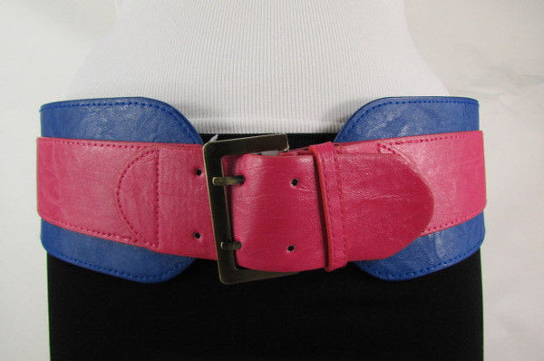 Beige Orange Black Orange White Yellow Blue Pink Faux Leather Elastic Wide 2 Colors Belt Big Buckle Western Style New Women Fashion Accessories S M - alwaystyle4you - 28