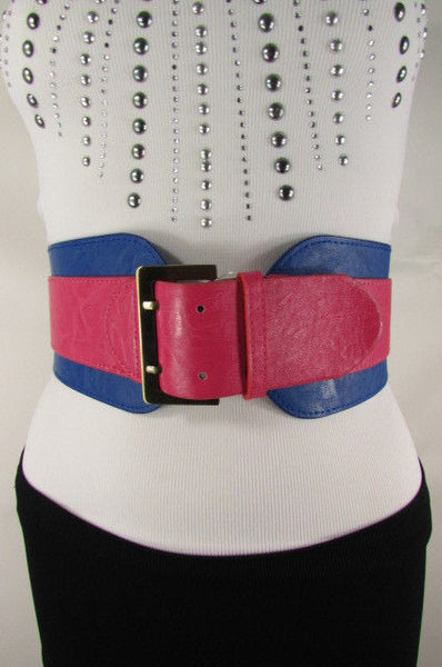 Beige Orange Black Orange White Yellow Blue Pink Faux Leather Elastic Wide 2 Colors Belt Big Buckle Western Style New Women Fashion Accessories S M - alwaystyle4you - 14