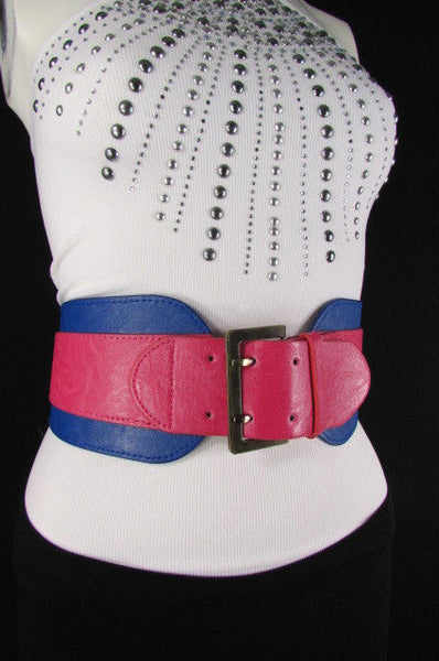 Beige Orange Black Orange White Yellow Blue Pink Faux Leather Elastic Wide 2 Colors Belt Big Buckle Western Style New Women Fashion Accessories S M - alwaystyle4you - 31