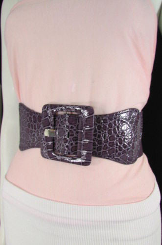 Beige Orange Black Brown Blue Light Blue White Red Purple Pink Gold Green Elastic Stretch Hip High Waist Belt Big Square Buckle New Women's Fashion Accessories XS S M L XL - alwaystyle4you - 116