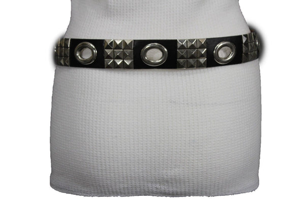 New Women Rock Punk Black Faux Leather Fashion Belt Silver Studs Oval S M L XL - alwaystyle4you - 12