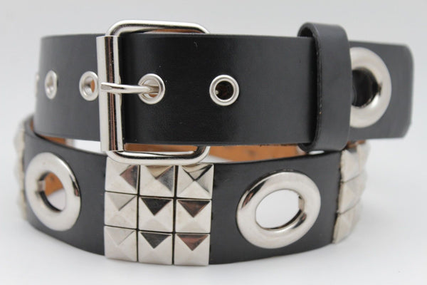 New Women Rock Punk Black Faux Leather Fashion Belt Silver Studs Oval S M L XL - alwaystyle4you - 2