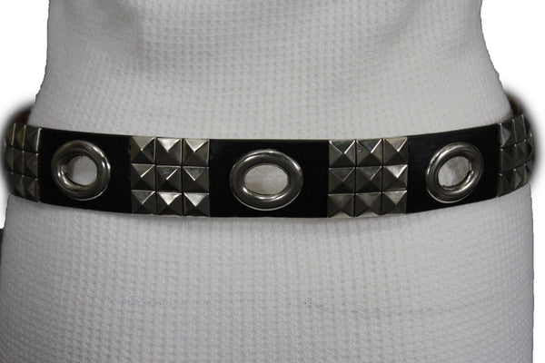 New Women Rock Punk Black Faux Leather Fashion Belt Silver Studs Oval S M L XL - alwaystyle4you - 3