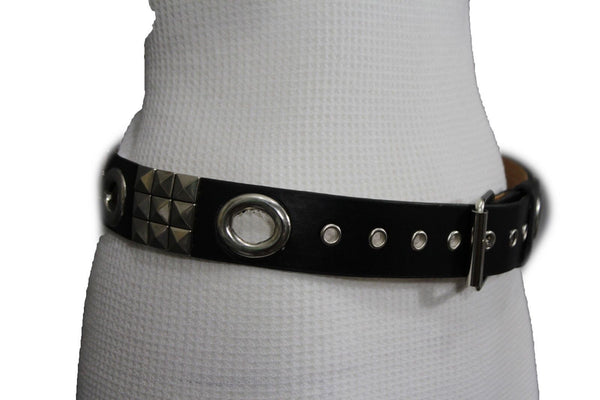 New Women Rock Punk Black Faux Leather Fashion Belt Silver Studs Oval S M L XL - alwaystyle4you - 5