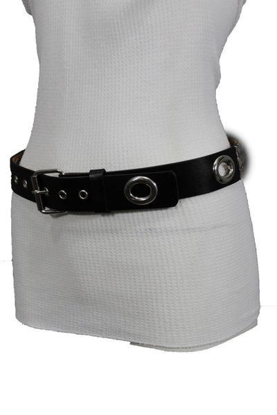 New Women Rock Punk Black Faux Leather Fashion Belt Silver Studs Oval S M L XL - alwaystyle4you - 6