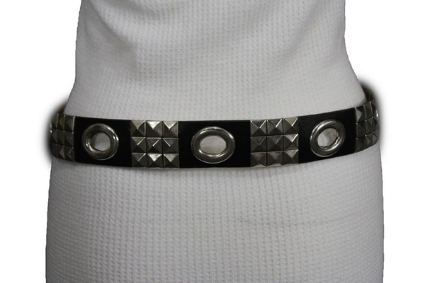 New Women Rock Punk Black Faux Leather Fashion Belt Silver Studs Oval S M L XL - alwaystyle4you - 1