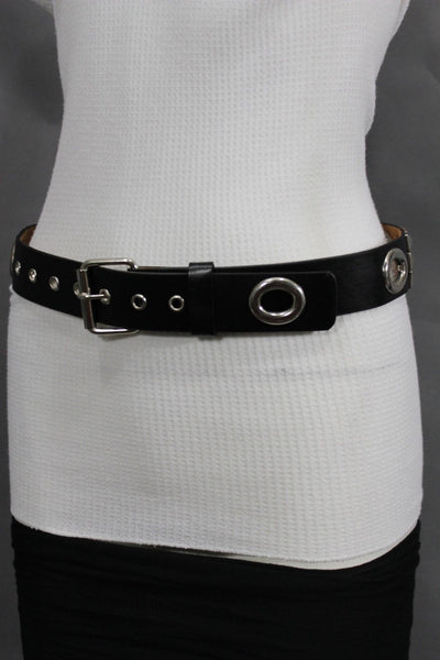 New Women Rock Punk Black Faux Leather Fashion Belt Silver Studs Oval S M L XL - alwaystyle4you - 9