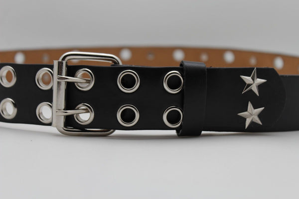 Black Faux Leather Rock Punk Belt Silver Texas Stars New Women Fashion Accessories S M L XL - alwaystyle4you - 12