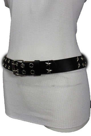 Black Faux Leather Rock Punk Belt Silver Texas Stars New Women Fashion Accessories S M L XL - alwaystyle4you - 1