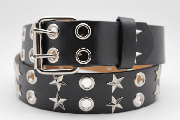 Black Faux Leather Rock Punk Belt Silver Texas Stars New Women Fashion Accessories S M L XL