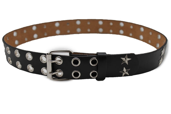 Black Faux Leather Rock Punk Belt Silver Texas Stars New Women Fashion Accessories S M L XL - alwaystyle4you - 3