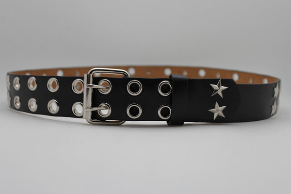Black Faux Leather Rock Punk Belt Silver Texas Stars New Women Fashion Accessories S M L XL - alwaystyle4you - 6