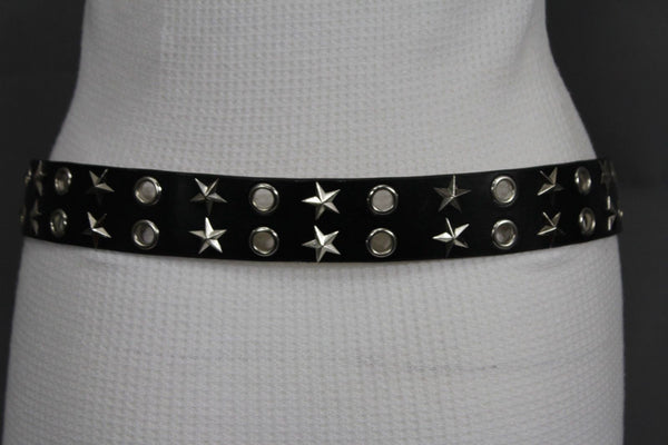 Black Faux Leather Rock Punk Belt Silver Texas Stars New Women Fashion Accessories S M L XL - alwaystyle4you - 7