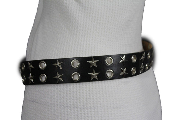 Black Faux Leather Rock Punk Belt Silver Texas Stars New Women Fashion Accessories S M L XL - alwaystyle4you - 8