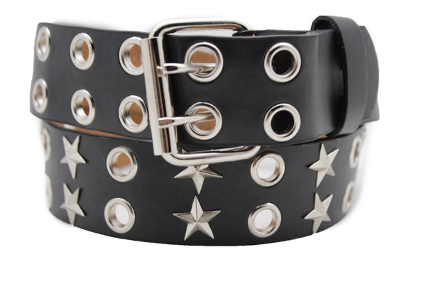 Black Faux Leather Rock Punk Belt Silver Texas Stars New Women Fashion Accessories S M L XL - alwaystyle4you - 9