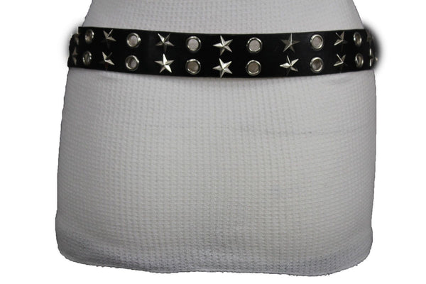 Black Faux Leather Rock Punk Belt Silver Texas Stars New Women Fashion Accessories S M L XL - alwaystyle4you - 10