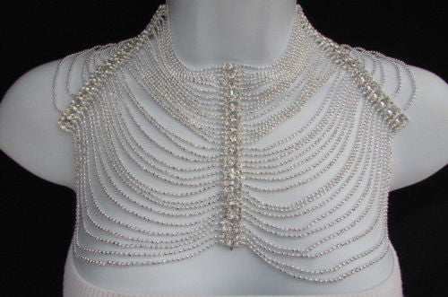Silver Shoulders Chain Rhinestones Starnds + Earrings New Women Fashion Jewelry Accessories