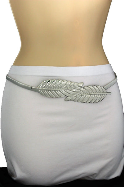 Gold / Silver Metal Hip High Waist Elastic Belt Two Fall Leaves Buckle New Women Fashion Accessories S M L - alwaystyle4you - 32