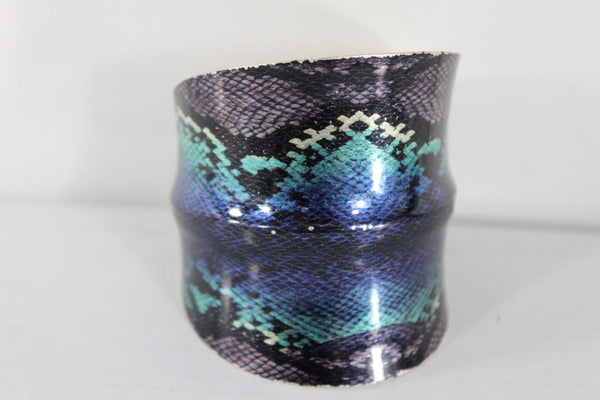 Silver Metal Cuff Bracelet Bangle Snake Blue Black Teal Print New Women Fashion Accessories - alwaystyle4you - 11