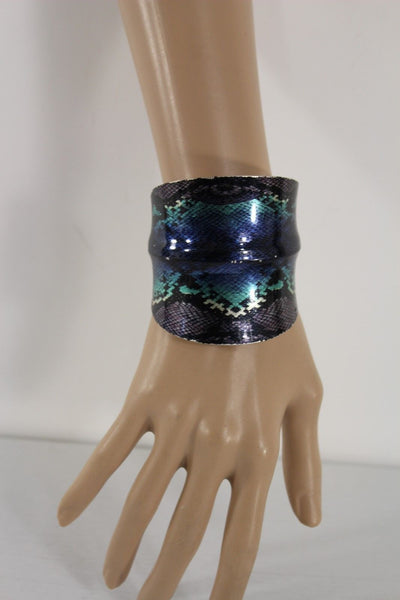 Silver Metal Cuff Bracelet Bangle Snake Blue Black Teal Print New Women Fashion Accessories - alwaystyle4you - 4