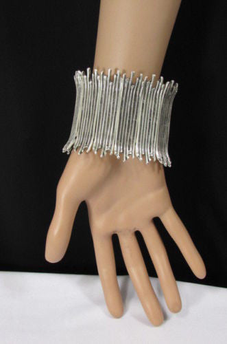 Silver Metal Elastic Bracelet Turkey Hand Made African Tribal Style New Women Fashion Jewelry Accessories - alwaystyle4you - 2