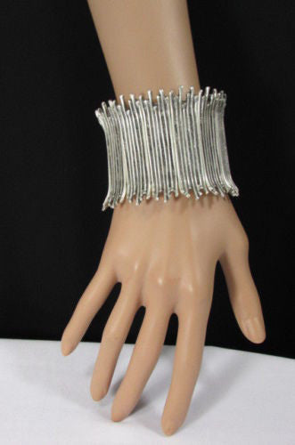 Silver Metal Elastic Bracelet Turkey Hand Made African Tribal Style New Women Fashion Jewelry Accessories - alwaystyle4you - 3