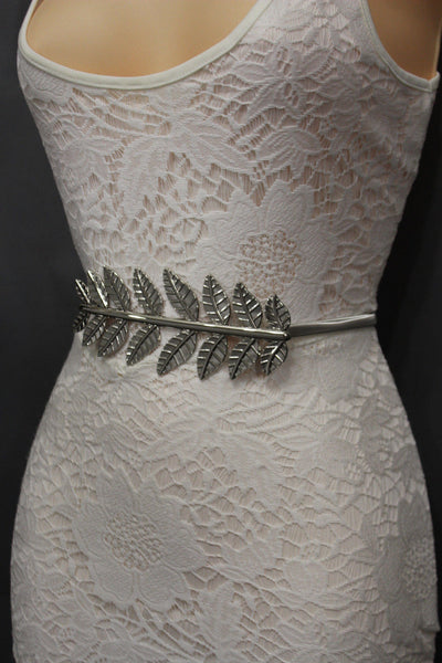 Silver / Gold Metal Hip High Waist Elastic Narrow Belt Wide Leaf Buckle New Women Fashion Accessories S M - alwaystyle4you - 5