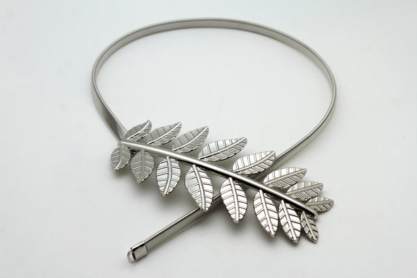 Silver / Gold Metal Hip High Waist Elastic Narrow Belt Wide Leaf Buckle New Women Fashion Accessories S M - alwaystyle4you - 6