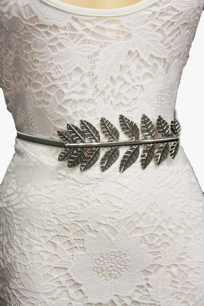 Silver / Gold Metal Hip High Waist Elastic Narrow Belt Wide Leaf Buckle New Women Fashion Accessories S M - alwaystyle4you - 13