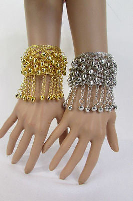 Silver Gold Metal Cuff Bracelet Chains Bells Dancing New Women Fashion Jewelry Accessories - alwaystyle4you - 1