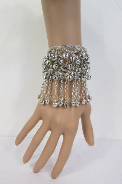 Silver Gold Metal Cuff Bracelet Chains Bells Dancing New Women Fashion Jewelry Accessories - alwaystyle4you - 20