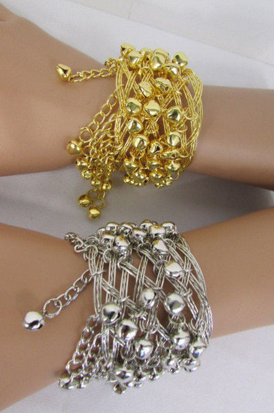 Silver Gold Metal Cuff Bracelet Chains Bells Dancing New Women Fashion Jewelry Accessories - alwaystyle4you - 23