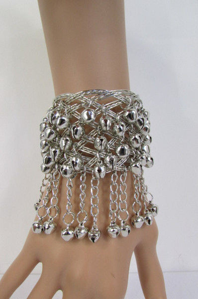 Silver Gold Metal Cuff Bracelet Chains Bells Dancing New Women Fashion Jewelry Accessories - alwaystyle4you - 24