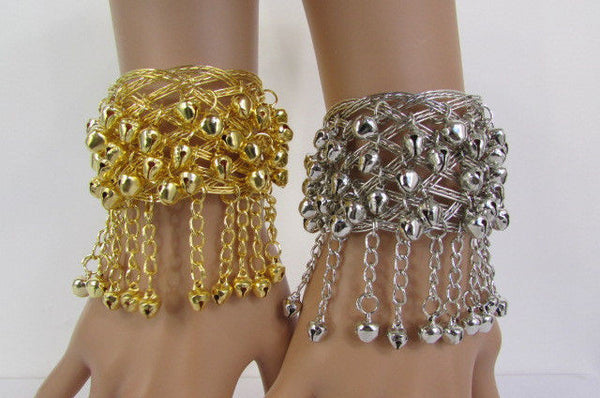 Silver Gold Metal Cuff Bracelet Chains Bells Dancing New Women Fashion Jewelry Accessories - alwaystyle4you - 27