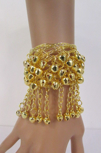 Silver Gold Metal Cuff Bracelet Chains Bells Dancing New Women Fashion Jewelry Accessories