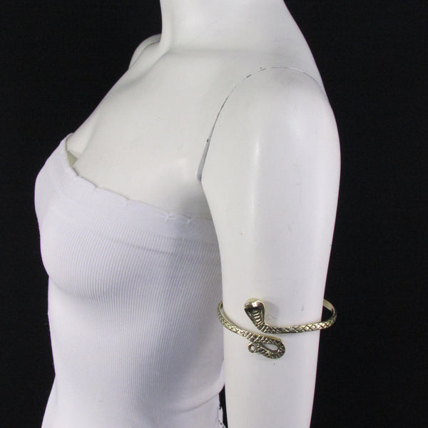 Cobra Snake Gold / Silver Metal Bracelet High Arm Cuff Chain New Women  Fashion - alwaystyle4you - 12