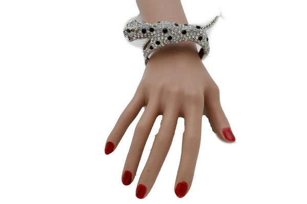 New Women Silver Metal Cuff Bracelet Bling Fancy Leopard Tiger Jewelry Accessories
