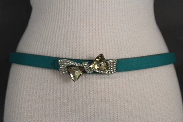 Black Pink Teal Blue Brown Narrow Skinny Faux Leather Hip High Waist Belt Silver Bow Tie Beads Multi Rhinestones Buckle New Women Fashion S M - alwaystyle4you - 2